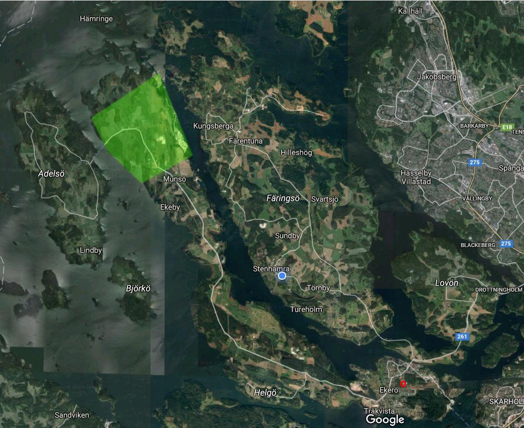 Karta över Mälaröarna med vår föreningsbigård och vårt renparningsområde markerade